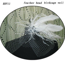 HHV11 2011 Wholesale New Beautiful Feather Real Sample Bride Birdcage Veil